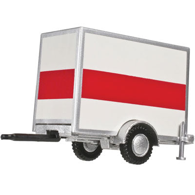 Atlas 60 000 099 HO, Standard Box Trailer, Single Axle, White with Orange Stripe