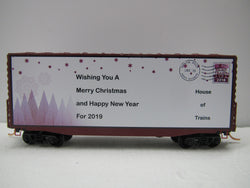 Micro-Trains Line 101 00 804 N 2018 Custom Christmas Car, 40' Modified Hy-Cube Box Car, Merry Christmas and Happy New Year from House of Trains