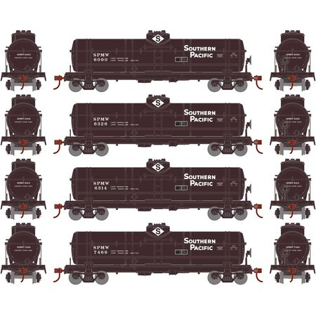 Roundhouse 2164 HO, Single Dome Tank Car, 4 Pack, Southern Pacific, SPMW