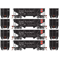 Roundhouse 70912 HO 34' 2 Bay Open Hopper, Coal Load, 4 Pack, Reading Railroad