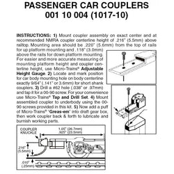 Micro Trains 001 10 004 (1017-10) N, Assembled, Passenger Car Couplers, For Use with 1017 and 1018 Trucks, 10 Pair, Black