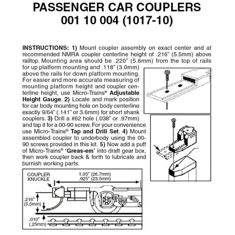 Micro Trains 001 10 004 (1017-10) N, Assembled, Passenger Car Couplers