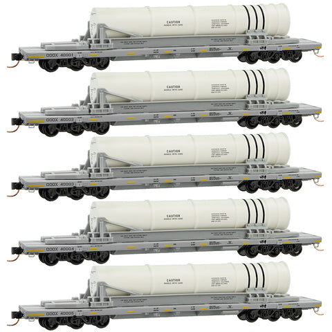 Micro-Trains Line 993 01 640 N, 68' Flat Car, 6 Axle, Booster Rocket Load, Navy, Department of Defense