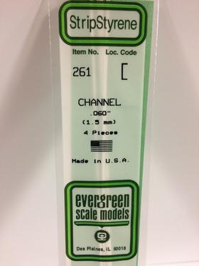 "Evergreen 261 Channel, .060"" (1.5 mm) (4 Pieces)"