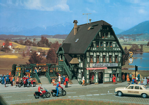 Vollmer 3736 HO Adler Inn w/Beer Garden (305 Pieces - 6 Colors)
