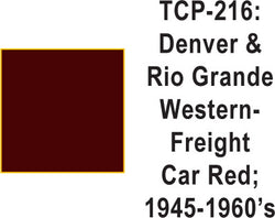 Tru-Color TCP-216 Denver and Rio Grande Western 1945-60 Freight Car Red 1 Fluid Ounce