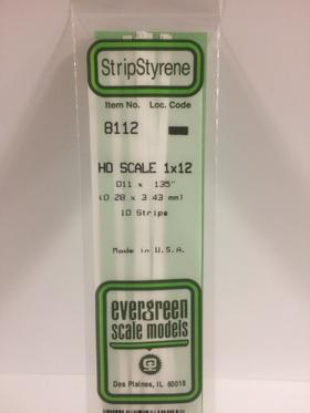 "Evergreen 8112 Strips, .011"" x .135"" (0.28 mm x 3.43 mm) (10 Pieces)"