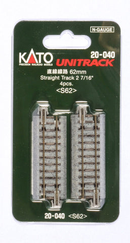 "Kato 20-040 N Unitrack 2 7/16"" (62mm) Straight (4 Pieces)"