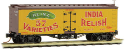 Micro-Trains 058 00 420 N 36' Wood Sheathed Ice Reefer, with Truss Rods, Heinz Yellow Series Car 3, India Relish, H.J.H.Co., 440