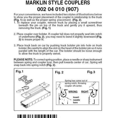 Micro-Trains Line 002 04 010 (907) Z and Nn3 Body Bolster Mounted Marklin Style Couplers, Black (2 pair)
