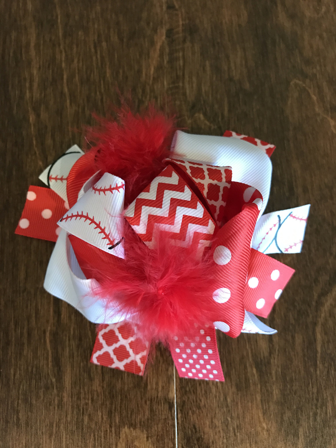 Hair Bow - Red/White Baseball