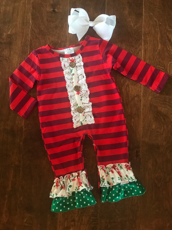 Infant - Red/Burgundy Stripe Onesie
