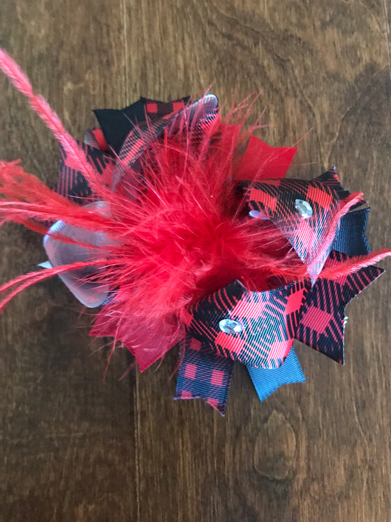 Hair Bow - Red Plaid w/Feathers