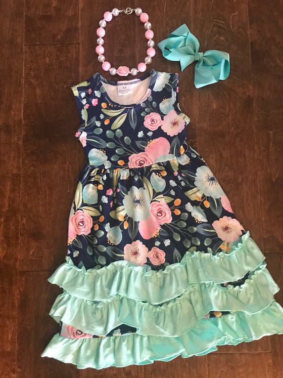 Dress - Navy Floral w/Mint Green Ruffles