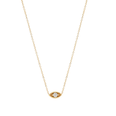Small Diamond Eye Necklace | 14K - She's Unique Jewelry