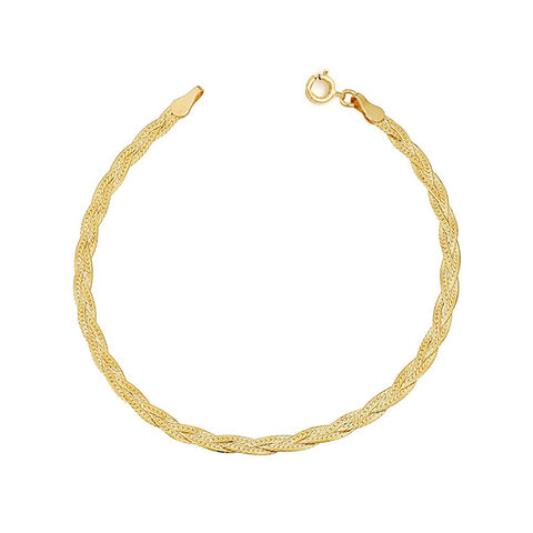 Braided Herringbone Bracelet | 10K Gold - She's Unique Jewelry