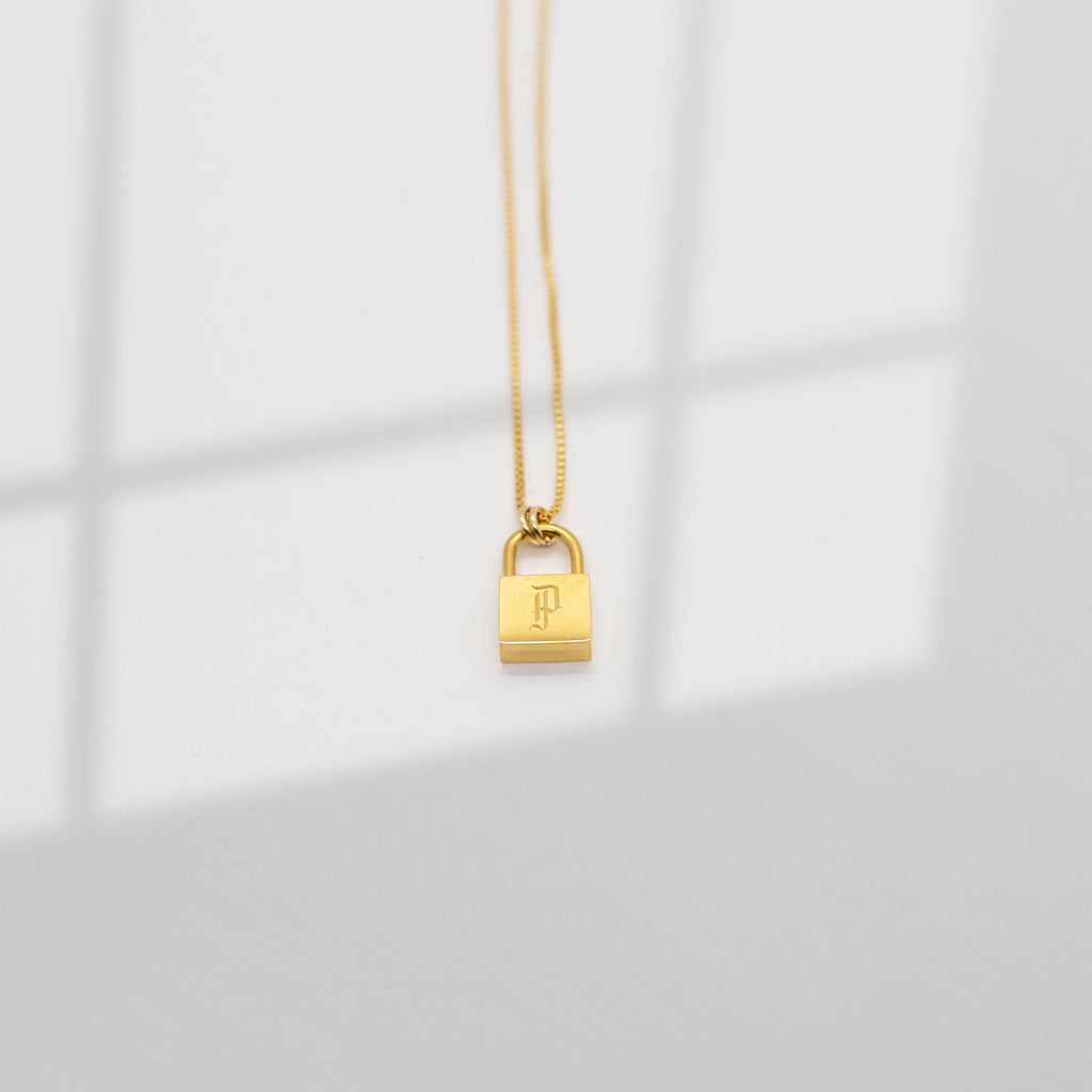 Love Lock Initial Pendant Necklace - She's Unique Jewelry