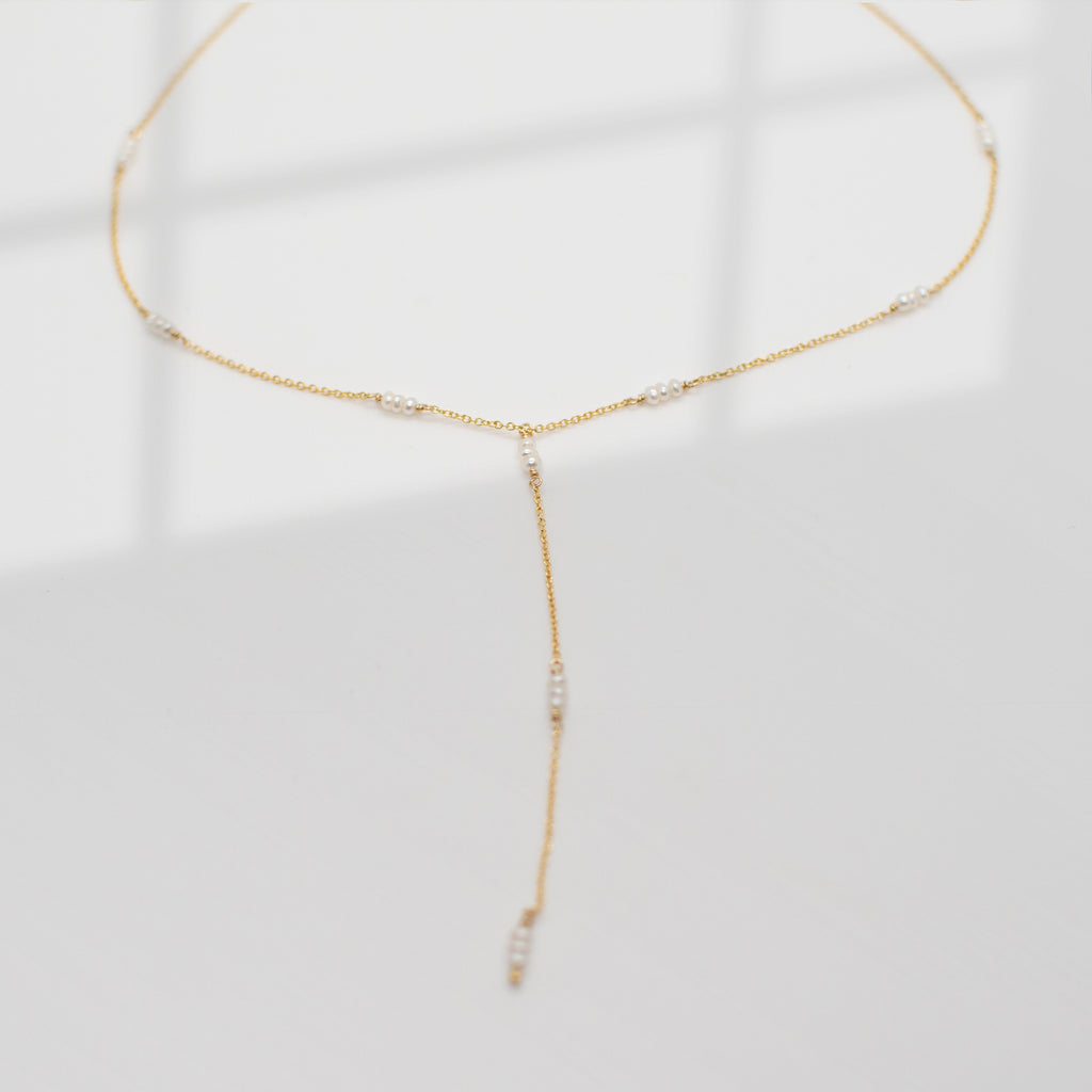 Strand Lariat Necklace | Pearl - She's Unique Jewelry