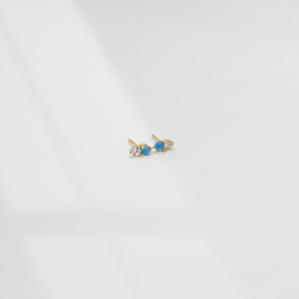 Tiny Double Stone Stud Earrings | Opal - She's Unique Jewelry