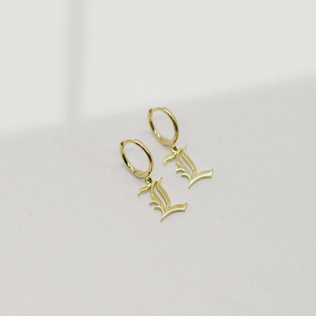 Old English Initial Earrings - She's Unique Jewelry
