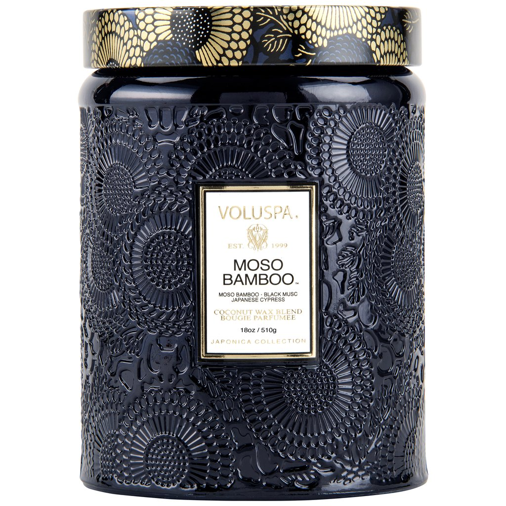 Voluspa | Moso Bamboo Large Glass Jar Candle - She's Unique Jewelry