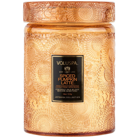 Voluspa | Spiced Pumpkin Latte Large Glass Jar Candle - She's Unique Jewelry