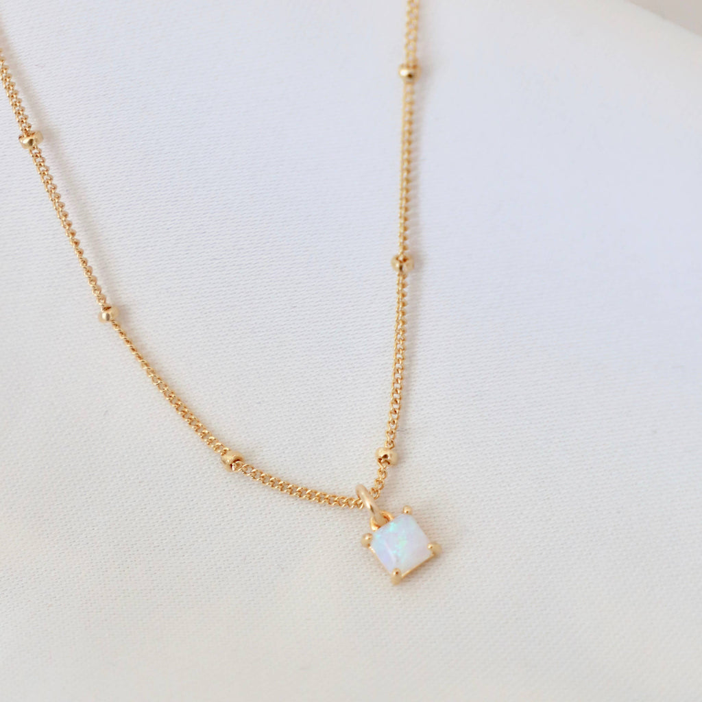 Petit Square Necklace | Opal - She's Unique Jewelry
