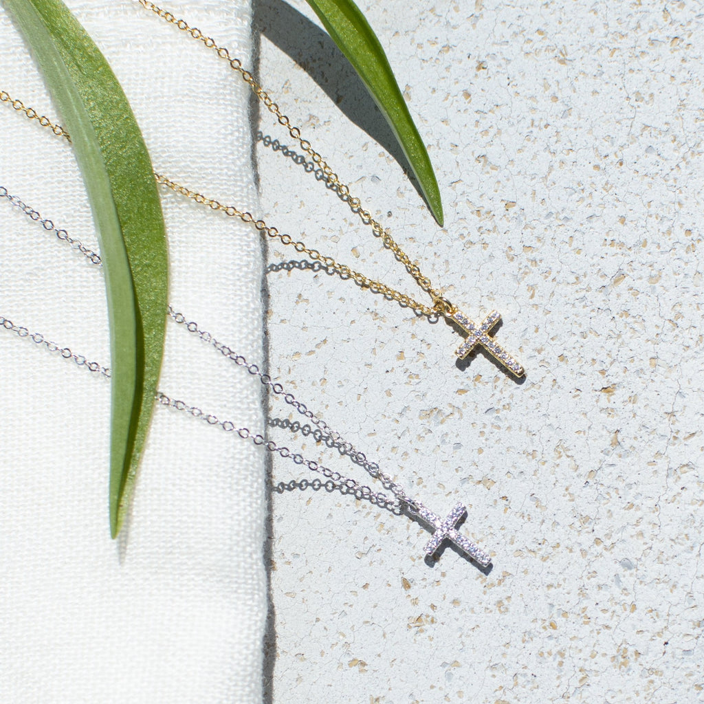 Small Classic Cross Necklace - She's Unique Jewelry