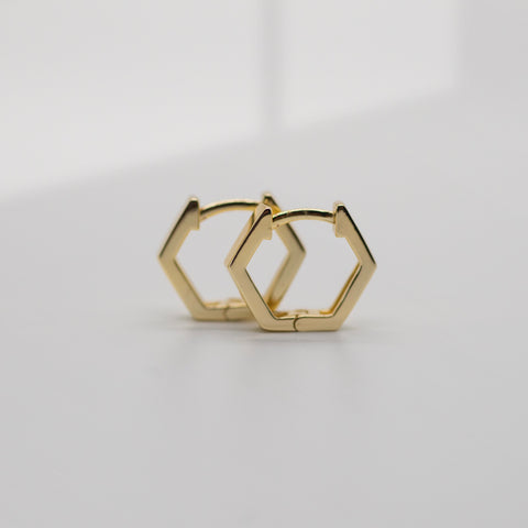 Hexagon Shaped Huggies - She's Unique Jewelry