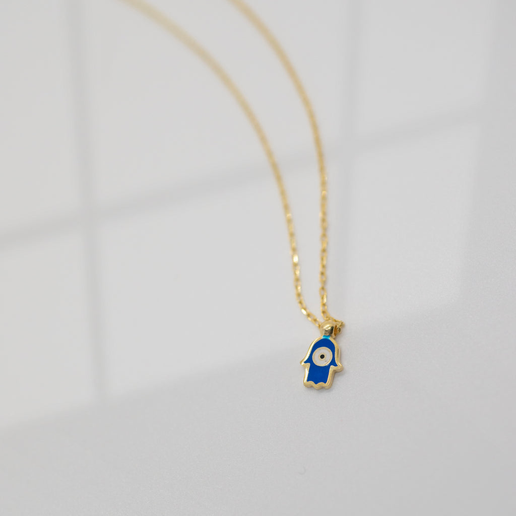 Tiny Enamel Hamsa Necklace | Navy - She's Unique Jewelry