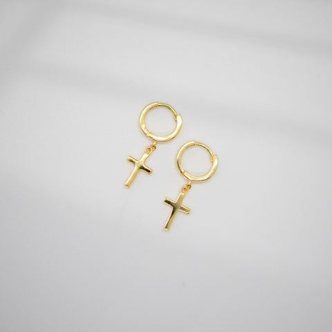 Cross Charm Huggie Earrings