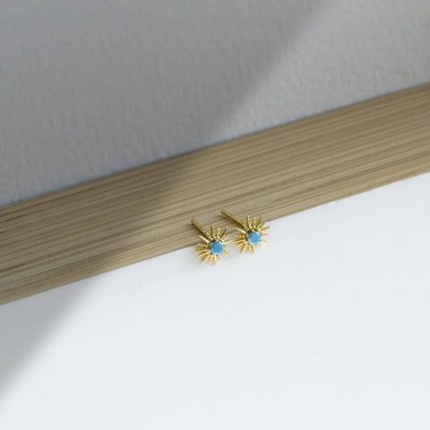 Sunburst Stud Earrings | Turquoise - She's Unique Jewelry