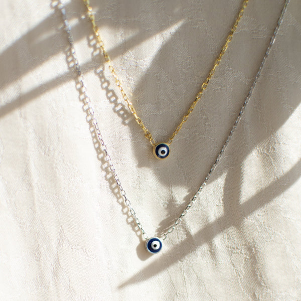 Teeny Tiny Enamel Eye Necklace - She's Unique Jewelry