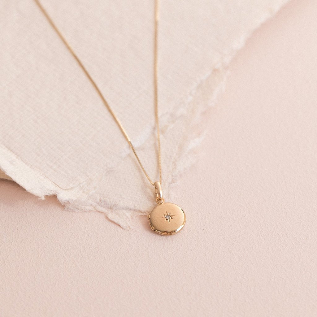 Petite Round Spark Locket | 14K - She's Unique Jewelry