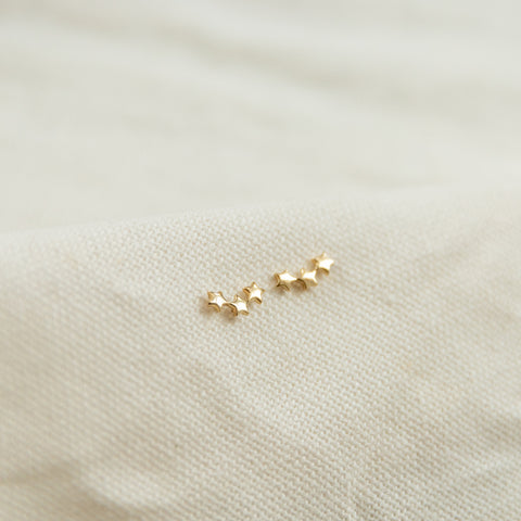 Three Star Stud Earrings | 14K - She's Unique Jewelry