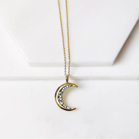 Crescent Pendant Necklace | Black Deco Diamond - She's Unique Jewelry