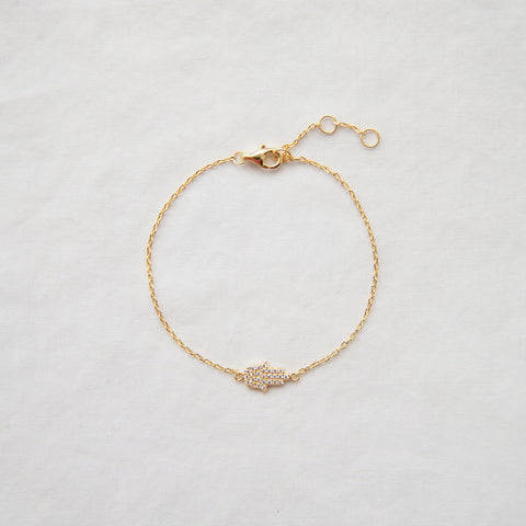 Pave Hamsa Hand Bracelet - She's Unique Jewelry