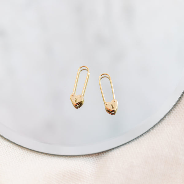 Hearts Safety Pin Earrings - She's Unique Jewelry