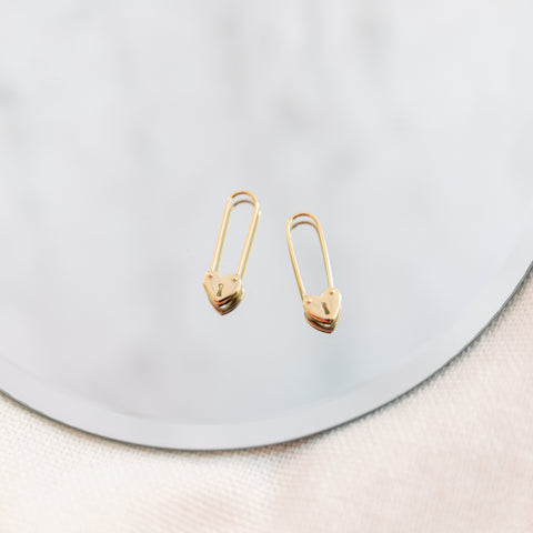 Hearts Safety Pin Earrings