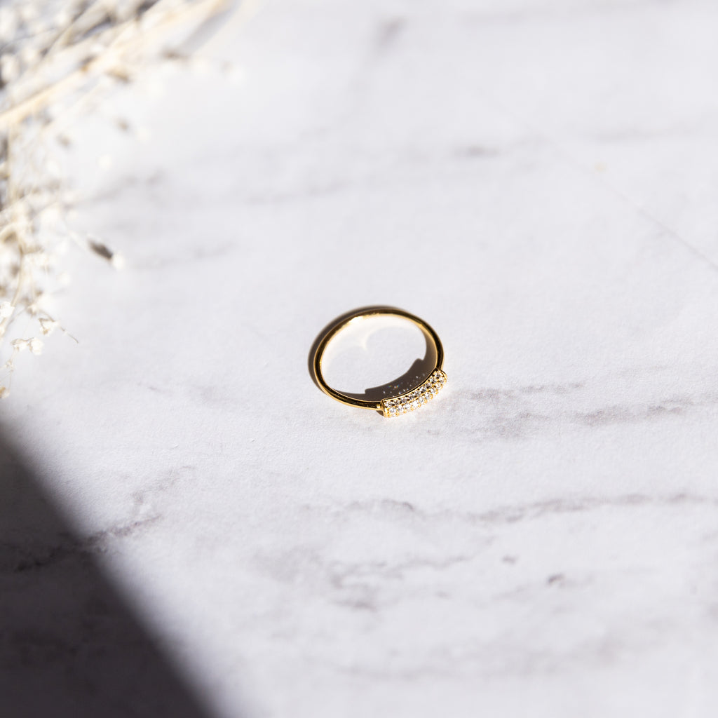 Rounded Pave Bar Ring - She's Unique Jewelry