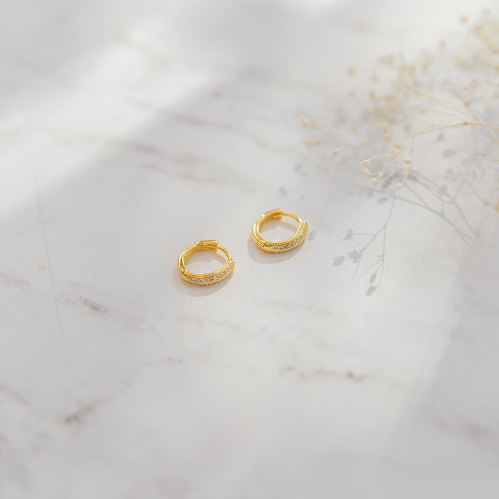 Rounded Huggie Hoop Earring | CZ - She's Unique Jewelry
