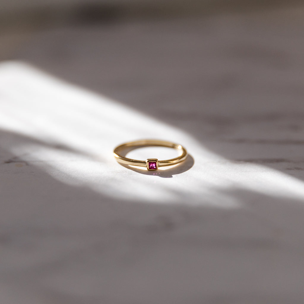 Tiny Square Stacking Ring | Ruby CZ - She's Unique Jewelry