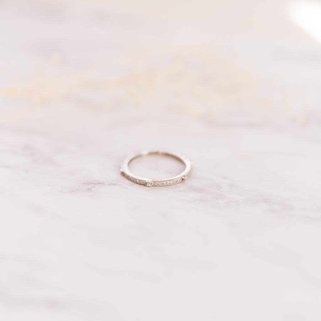 Partitioned Pave Stacking Ring - She's Unique Jewelry