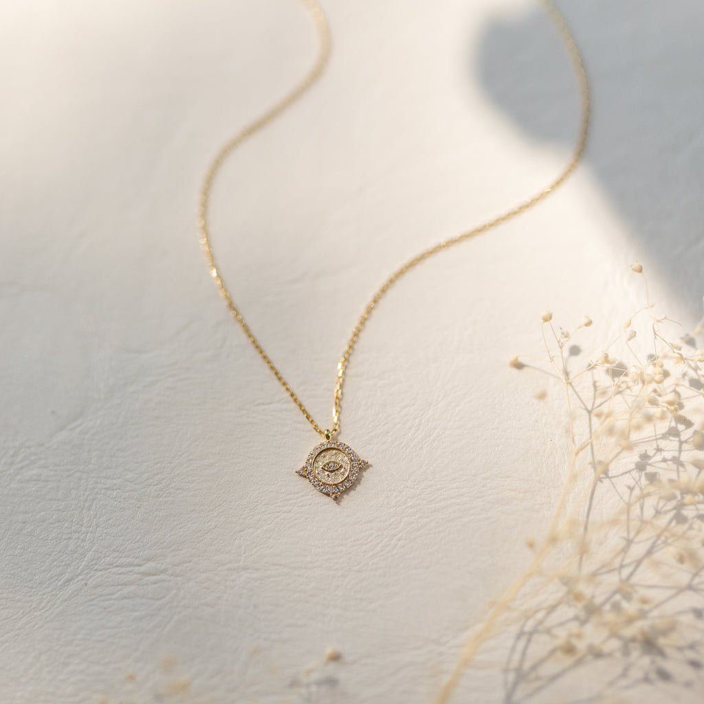 Tiny Eye Medallion Necklace - She's Unique Jewelry