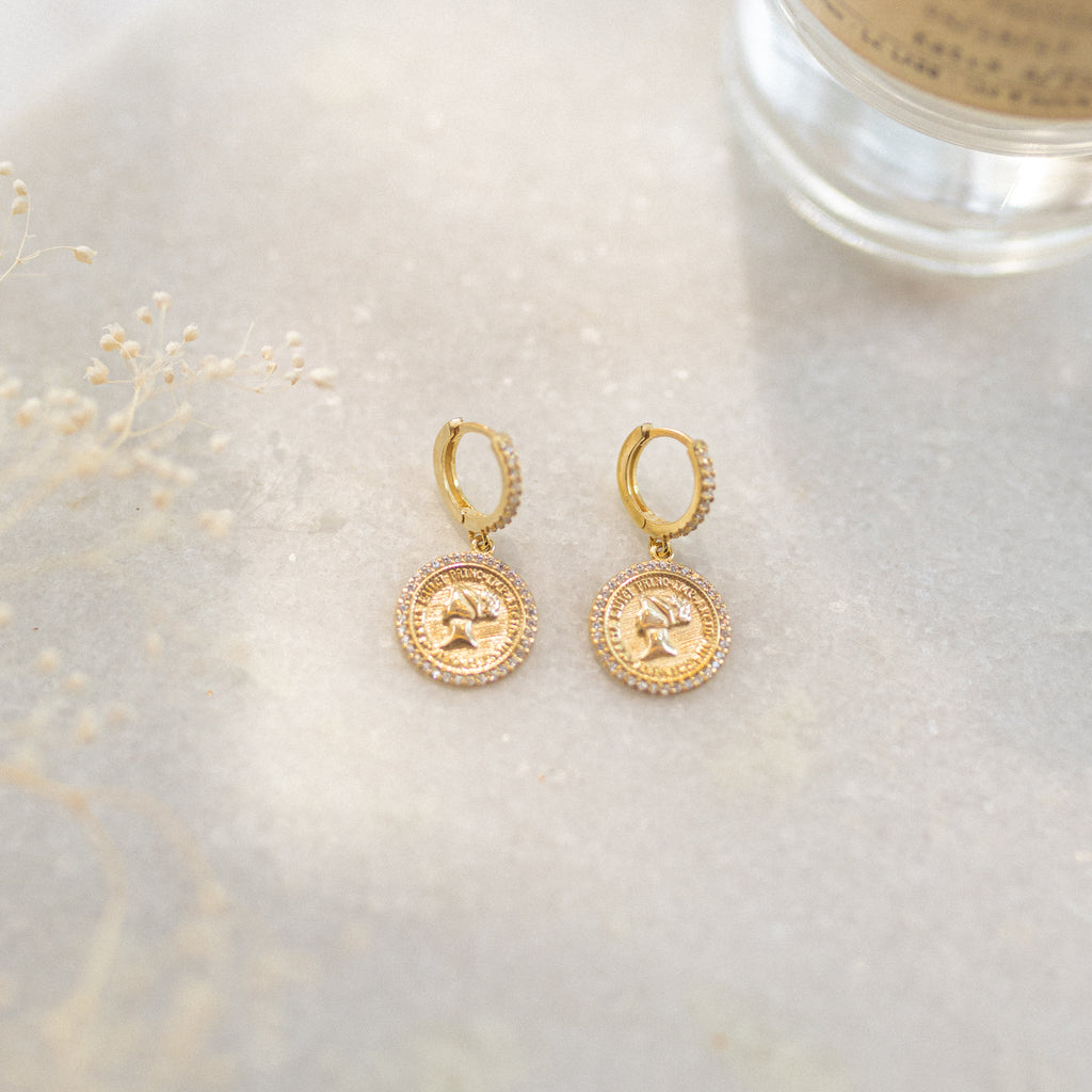 Coin Charm Hoop Earrings - She's Unique Jewelry