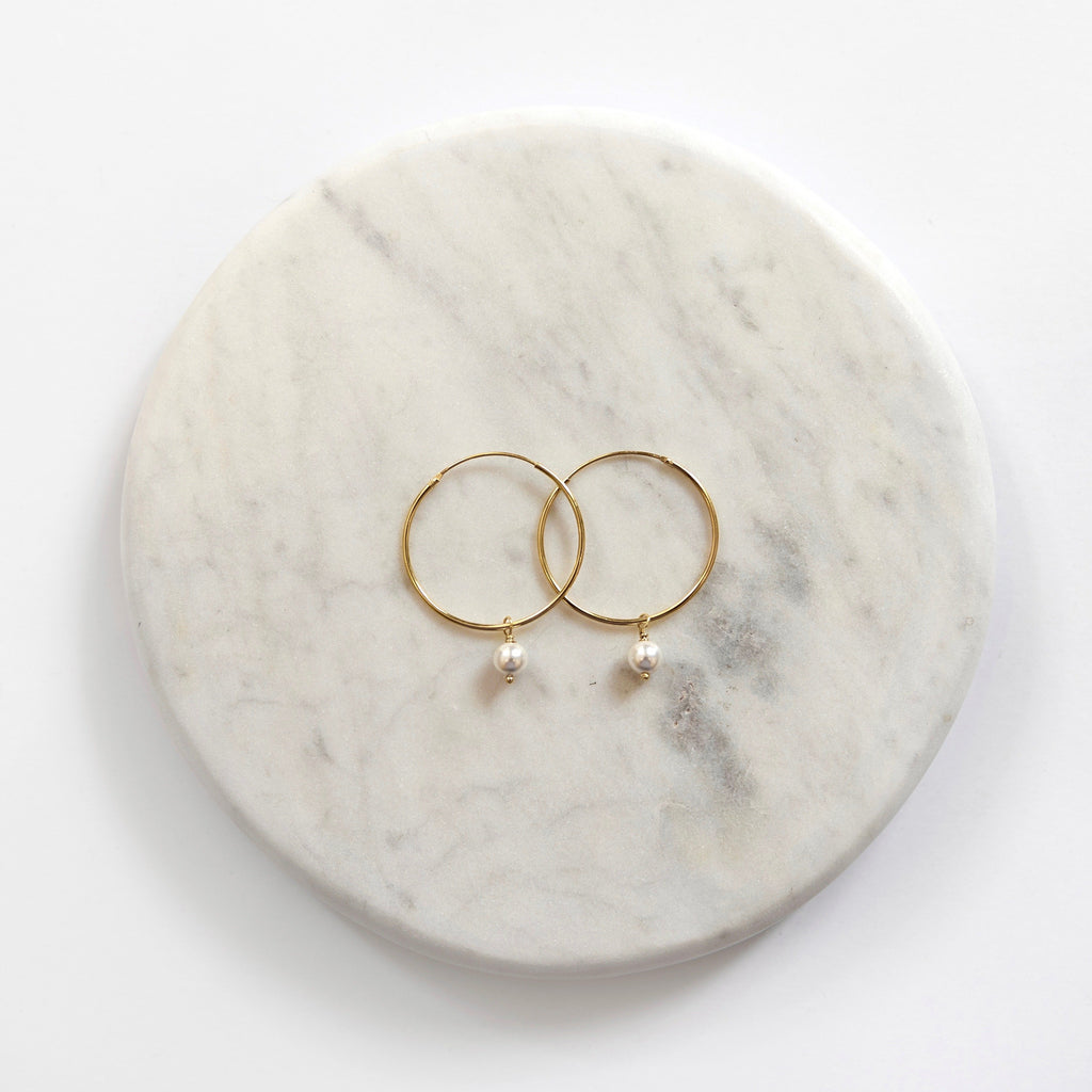 Sarah One Pearl Hoop Earrings