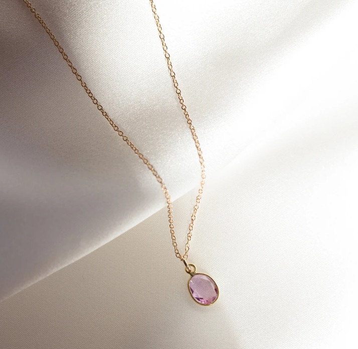 Slice Necklace | Pink Sapphire - She's Unique Jewelry