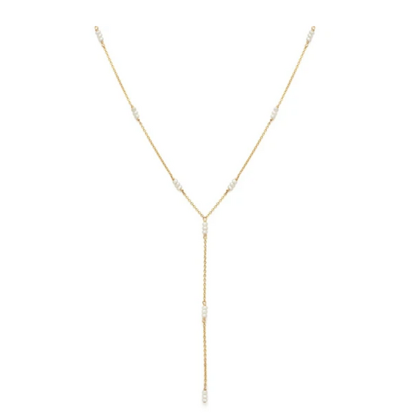 Strand Lariat Necklace | Pearl 14K - She's Unique Jewelry