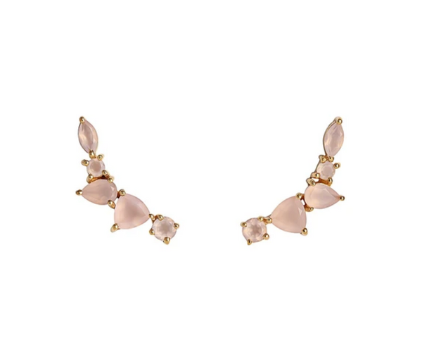 Wing Ear Climbers | Rose Pink Chalcedony - She's Unique Jewelry
