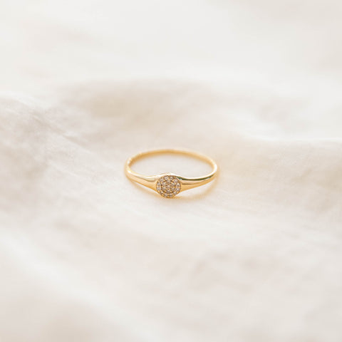 Annie Signet Ring | 14K Diamond - She's Unique Jewelry